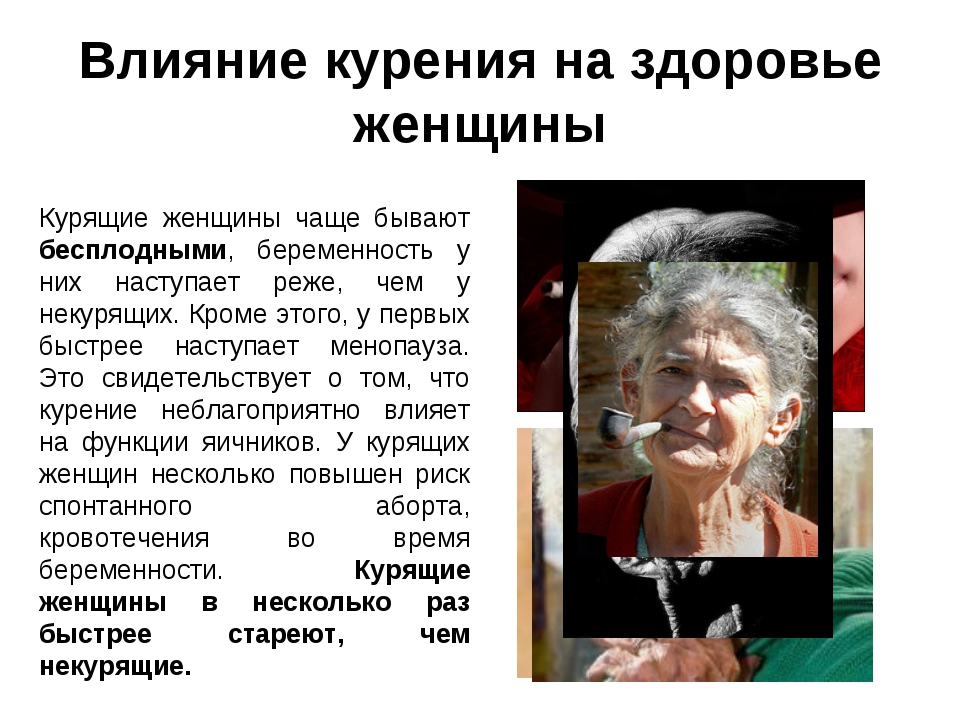 Влияние курения на здоровье женщины Курящие женщины чаще бывают бесплодными,...