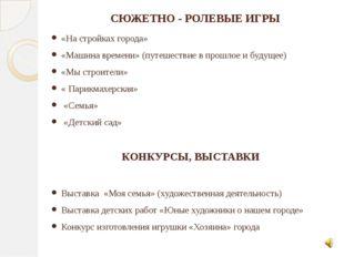 СЮЖЕТНО - РОЛЕВЫЕ ИГРЫ «На стройках города» «Машина времени» (путешествие в п