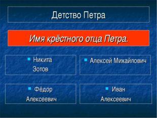 Детство Петра Никита Зотов Имя крёстного отца Петра. Алексей Михайлович Иван