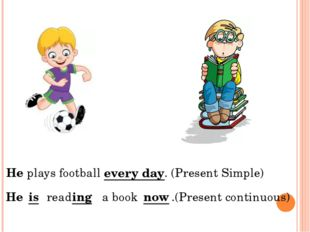 He plays football . (Present Simple) He read a book .(Present continuous) eve