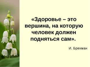 «Здоровье – это вершина, на которую человек должен подняться сам». И. Брехман