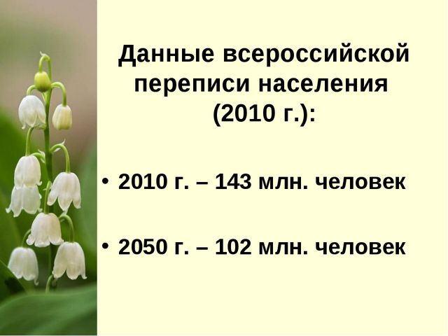 Данные всероссийской переписи населения (2010 г.): 2010 г. – 143 млн. челове...