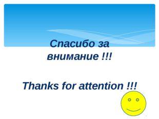 Спасибо за внимание !!! Thanks for attention !!!