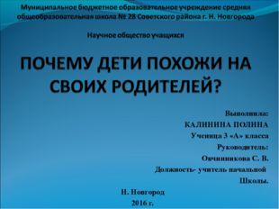 Выполнила: КАЛИНИНА ПОЛИНА Ученица 3 «А» класса Руководитель: Овчинникова С.