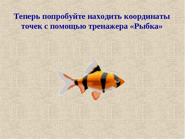 Теперь попробуйте находить координаты точек с помощью тренажера «Рыбка»
