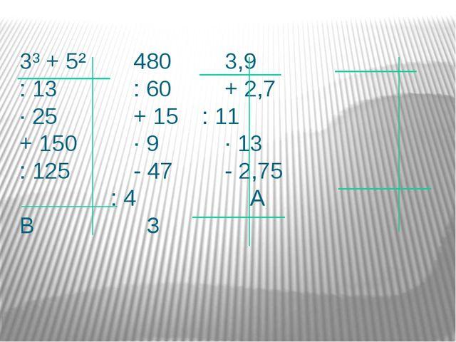 3³ + 5²4803,9 : 13: 60+ 2,7 ∙ 25+ 15: 11 + 150∙ 9∙...