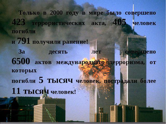 Только в 2000 году в мире было совершено 423 террористических акта, 405 чел...