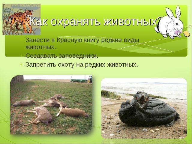 Занести в Красную книгу редкие виды животных. Создавать заповедники. Запретит...