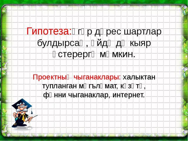 Гипотеза:әгәр дөрес шартлар булдырсаң, өйдә дә кыяр үстерергә мөмкин. Проектн...