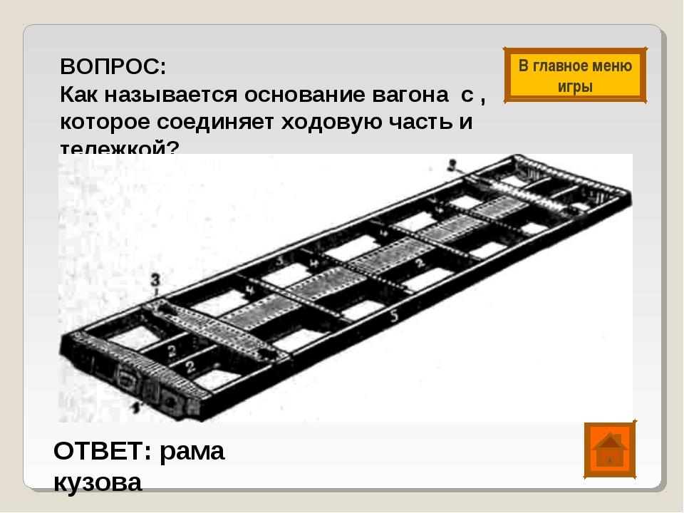 ВОПРОС: Как называется основание вагона с , которое соединяет ходовую часть и...