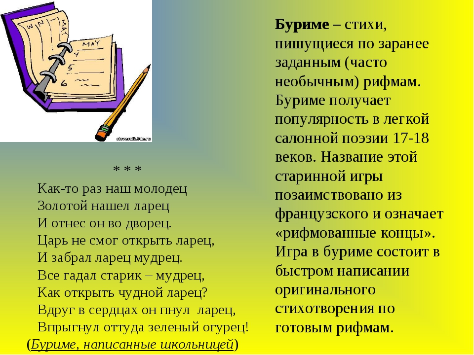 Буриме – стихи, пишущиеся по заранее заданным (часто необычным) рифмам. Бурим...