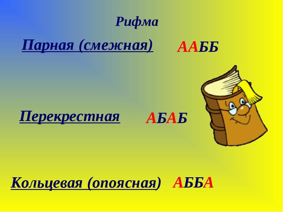 Парная (смежная) Рифма Перекрестная Кольцевая (опоясная) ААББ АБАБ АББА
