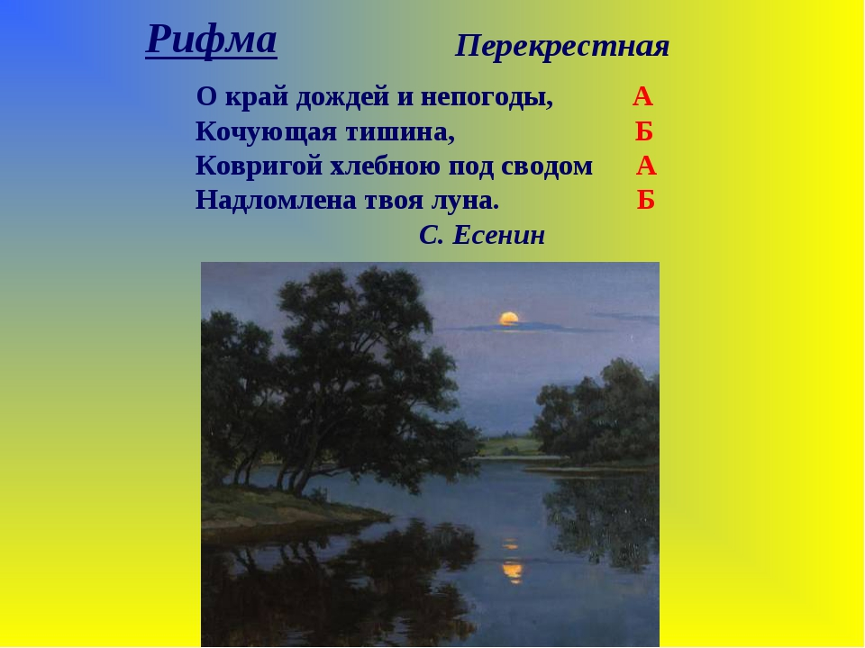 Рифма Перекрестная О край дождей и непогоды, А Кочующая тишина, Б Ковригой хл...