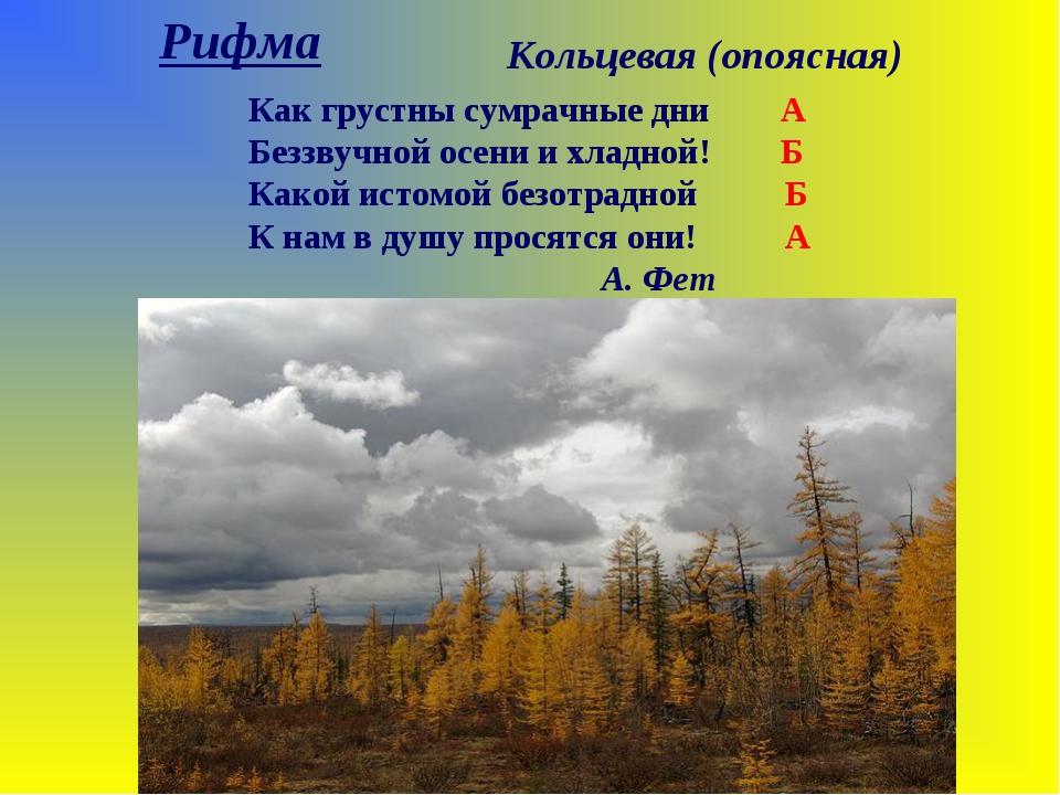 Рифма Кольцевая (опоясная) Как грустны сумрачные дни А Беззвучной осени и хла...