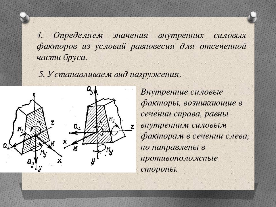 4. Определяем значения внутренних силовых факторов из условий равновесия для...