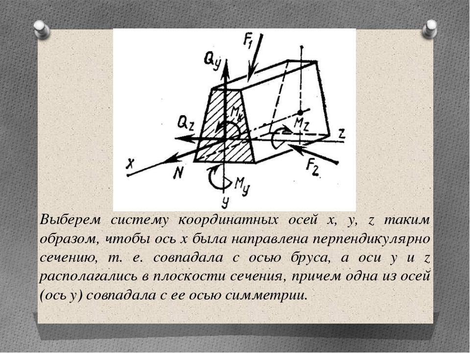 Выберем систему координатных осей х, у, z таким образом, чтобы ось x была нап...