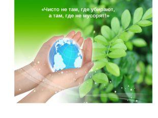 «Чисто не там, где убирают, а там, где не мусорят!»