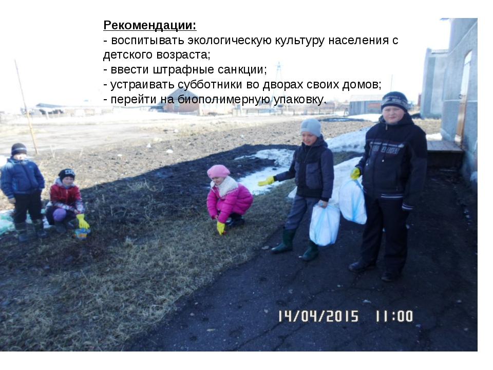 Рекомендации: - воспитывать экологическую культуру населения с детского возр...