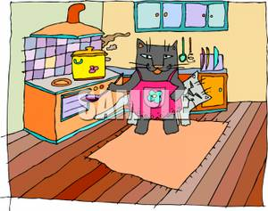 http://www.picturesof.net/_images_300/Two_Cats_In_a_Kitchen_Cooking_Royalty_Free_Clipart_Picture_100215-124229-675053.jpg