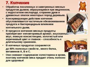 7. Копчение Обработка посоленных и заветренных мясных продуктов дымом, образ