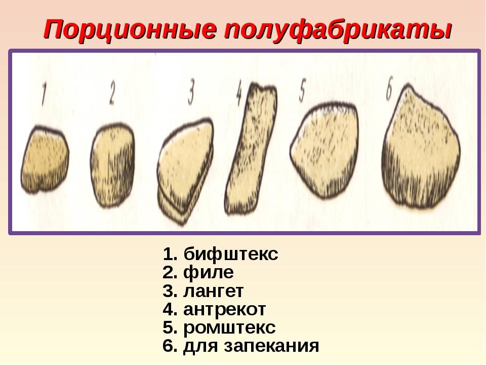 Порционные полуфабрикаты бифштекс филе лангет антрекот ромштекс для запекания