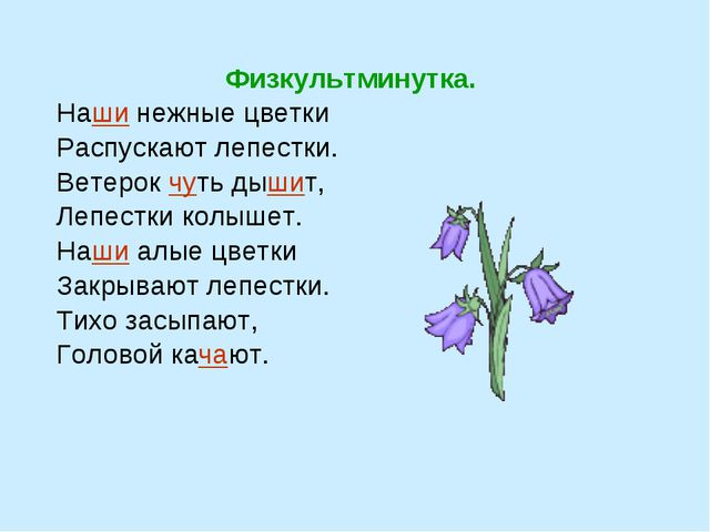 Физкультминутка. Наши нежные цветки Распускают лепестки. Ветерок чуть дышит,...