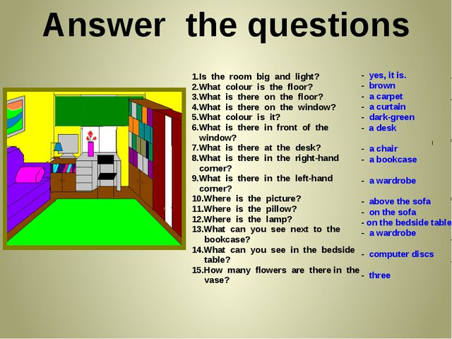 Answer the questions 1.Is the room big and light? 2.What colour is the floor...