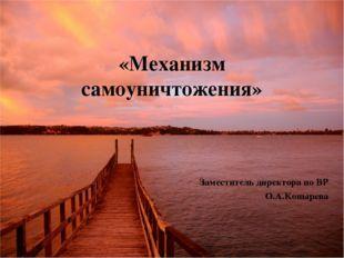 «Механизм самоуничтожения» Заместитель директора по ВР О.А.Конырева