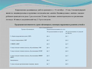Коррекционно-развивающая работа проводится с 15 сентября – 15 мая. Основной
