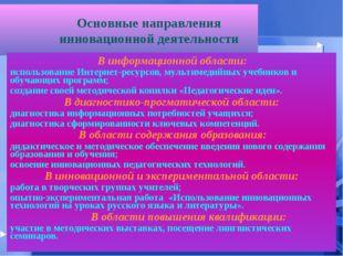 Основные направления инновационной деятельности В информационной области: ис