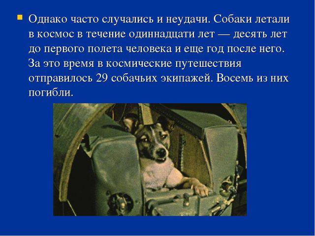Однако часто случались и неудачи. Собаки летали в космос в течение одиннадцат...