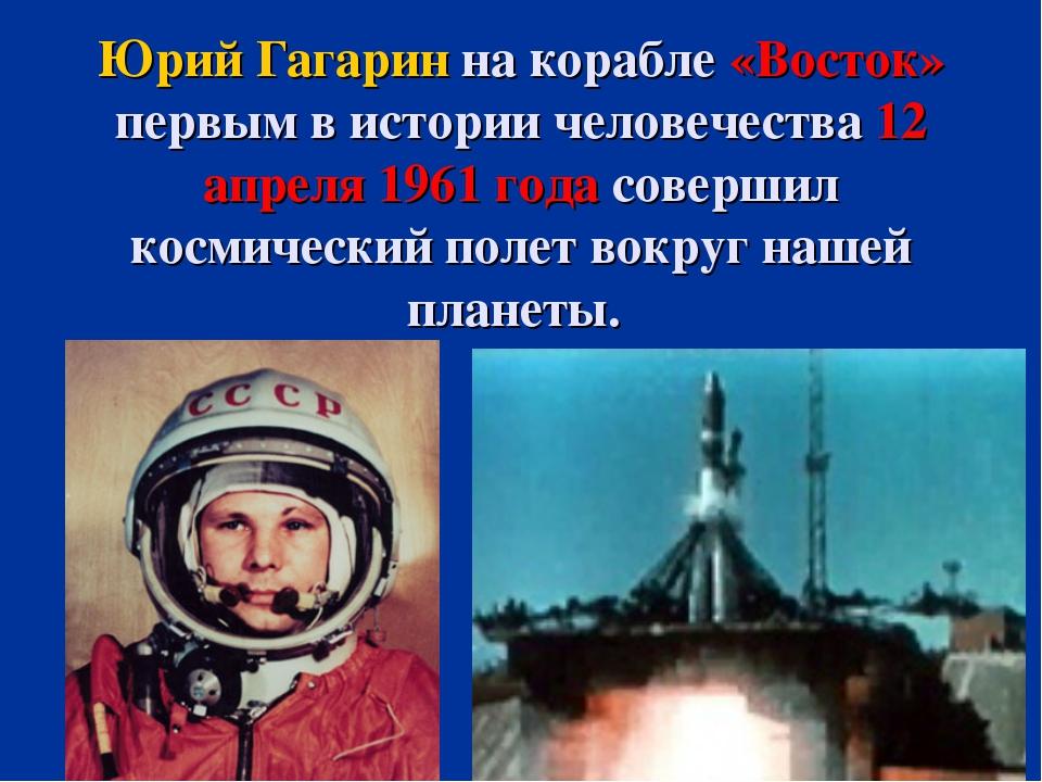 Юрий Гагарин на корабле «Восток» первым в истории человечества 12 апреля 1961...