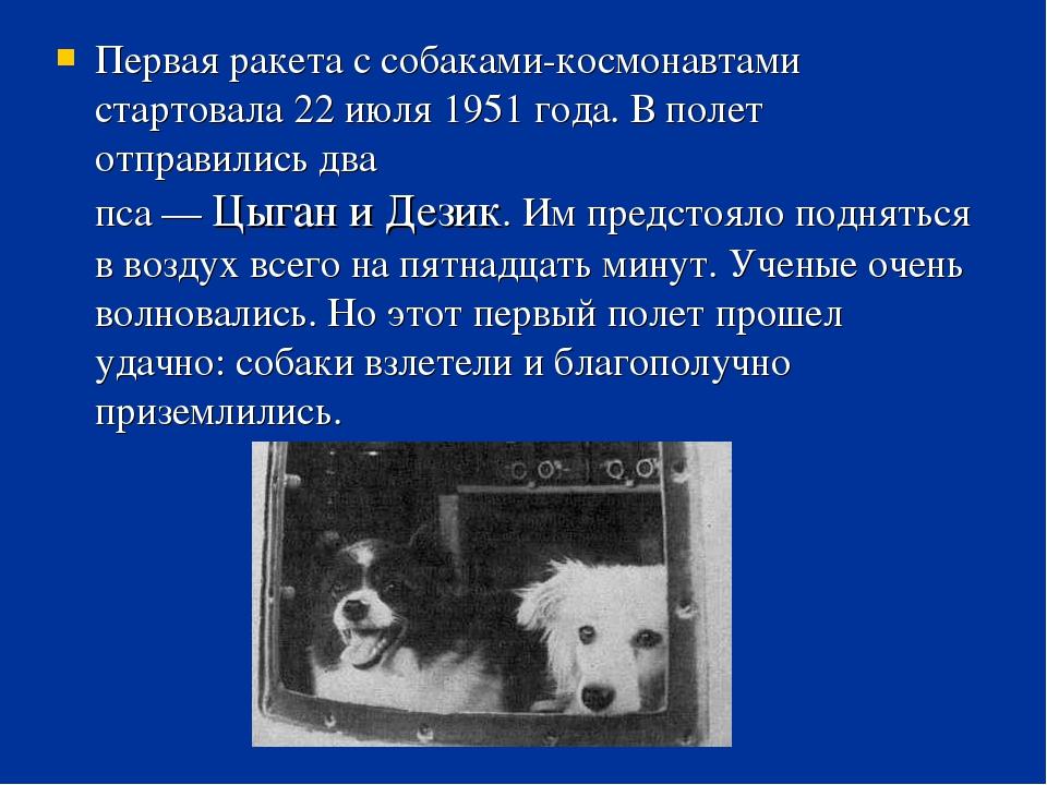 Первая ракета с собаками-космонавтами стартовала 22 июля 1951 года. В полет о...