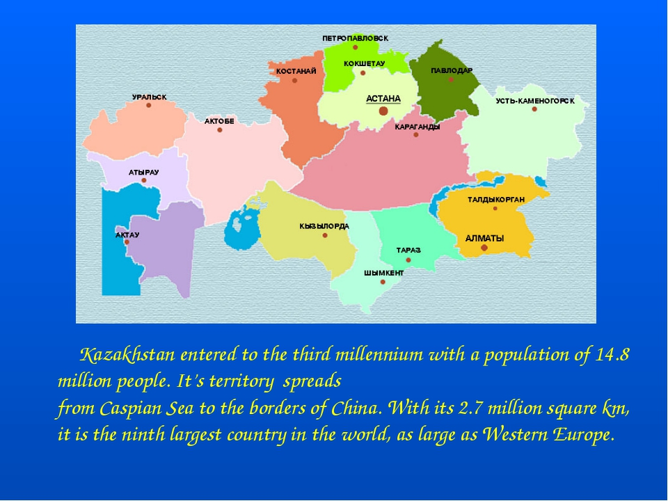 Kazakhstan entered to the third millennium with a population of 14.8 million...