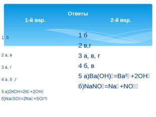 Ответы 1-й вар. 2-й вар. 1 б 2 а, в 3 а, г 4 а, б ,г 5 а)2КОН=2К⁺+2ОН⁻ б)Na₂S