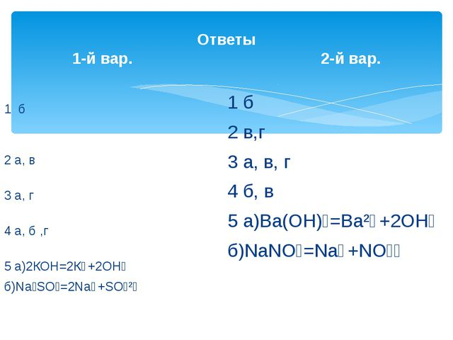 Ответы 1-й вар. 2-й вар. 1 б 2 а, в 3 а, г 4 а, б ,г 5 а)2КОН=2К⁺+2ОН⁻ б)Na₂S...