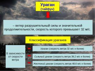 Ураган (тайфун) – ветер разрушительный силы и значительной продолжительности,