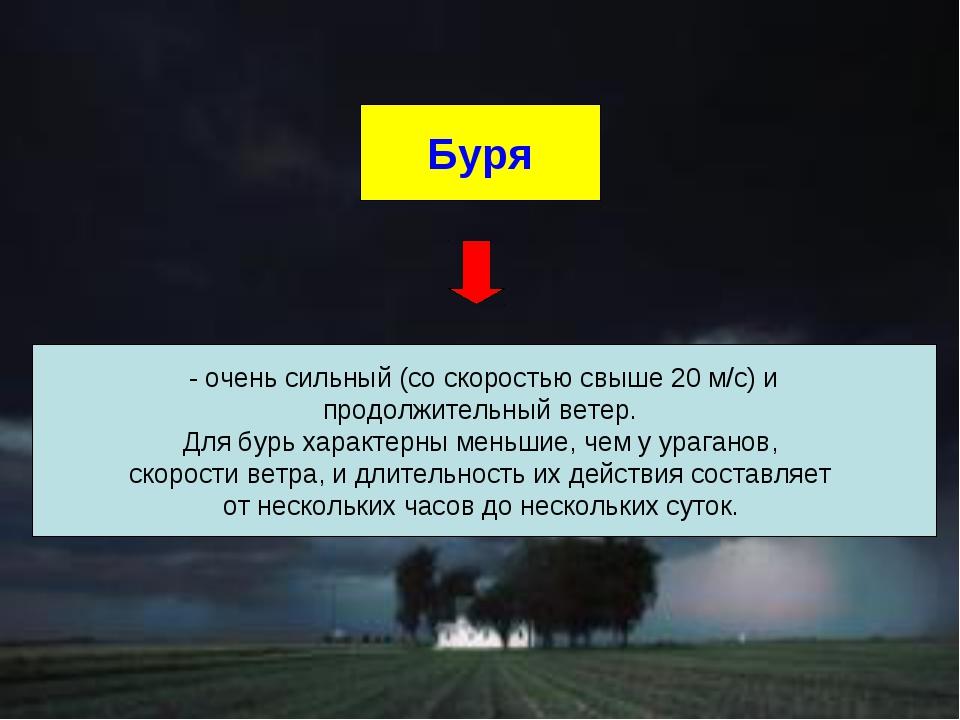 Буря - очень сильный (со скоростью свыше 20 м/с) и продолжительный ветер. Для...