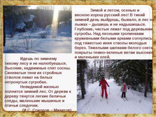 * * Зимой и летом, осенью и весною хорош русский лес! В тихий зимний день вы