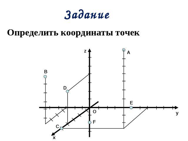 Задание B C O E F D z y x A Определить координаты точек