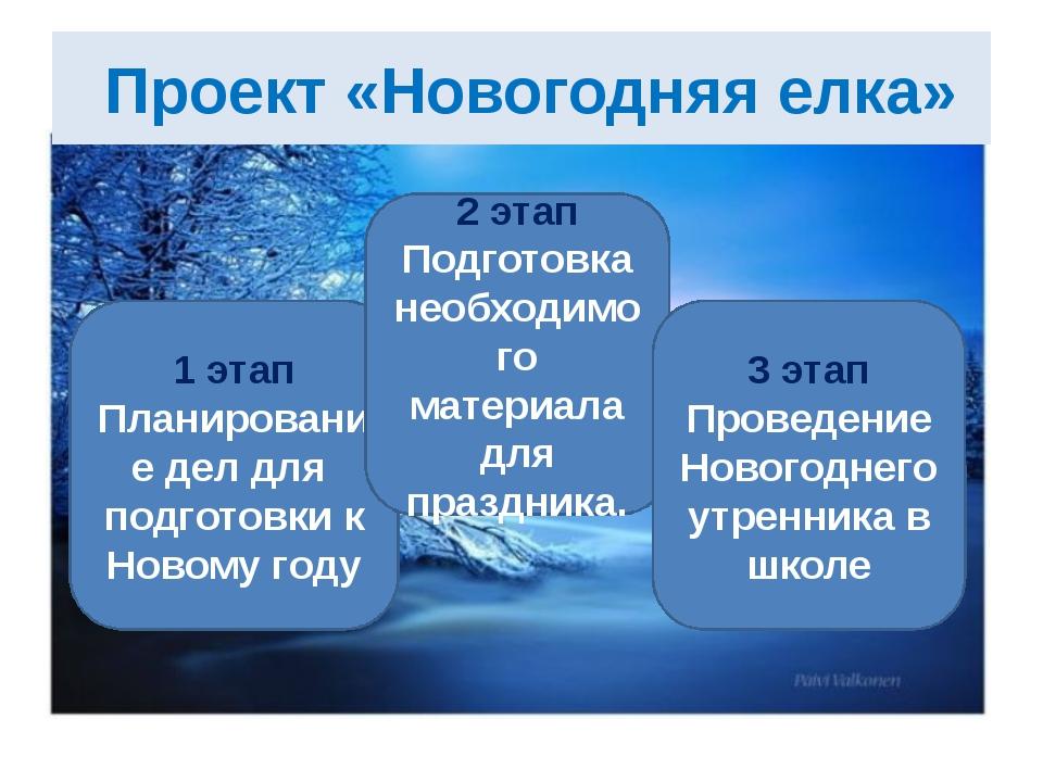 Проект «Новогодняя елка» 1 этап Планирование дел для подготовки к Новому год...