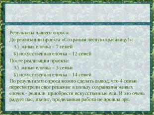 * * Результаты нашего опроса: До реализации проекта «Сохраним лесную красавиц