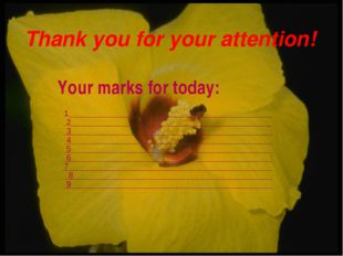 Thank you for your attention! Your marks for today: 1 2 3 4 5 6 7 8 9