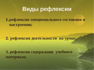 Виды рефлексии рефлексия эмоционального состояния и настроения; рефлексия дея