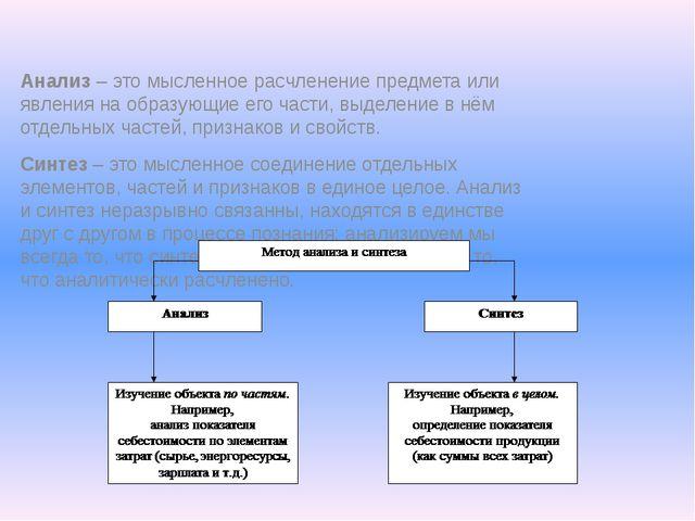 Анализ – это мысленное расчленение предмета или явления на образующие его час...