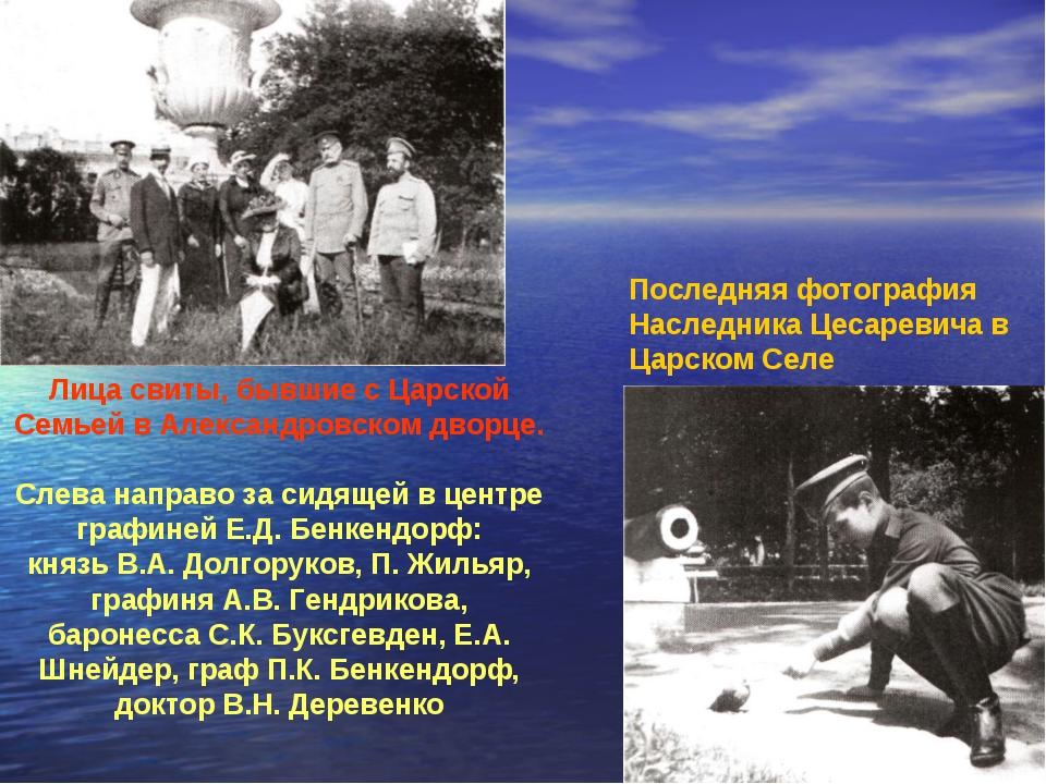 Лица свиты, бывшие с Царской Семьей в Александровском дворце. Слева направо з...