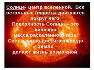 Солнце- центр вселенной. Все остальные планеты двигаются вокруг него. Поверх
