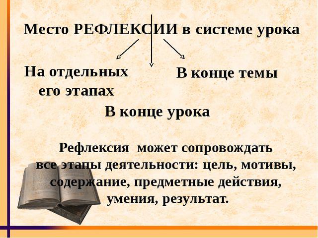 Место РЕФЛЕКСИИ в системе урока На отдельных его этапах В конце урока В конце...