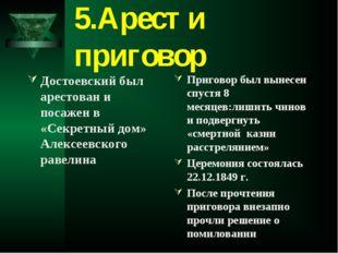 5.Арест и приговор Достоевский был арестован и посажен в «Секретный дом» Алек