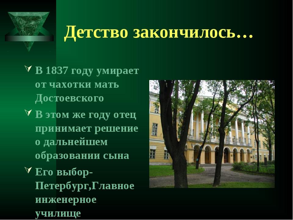 Детство закончилось… В 1837 году умирает от чахотки мать Достоевского В этом...
